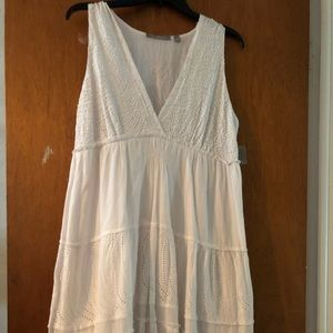 NY Collection White Peasant Dress with Sequin